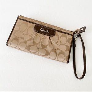 Coach tan signature print large fabric wallet